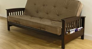 Essential Home Heritage Futon with Magazine Rack - Tan