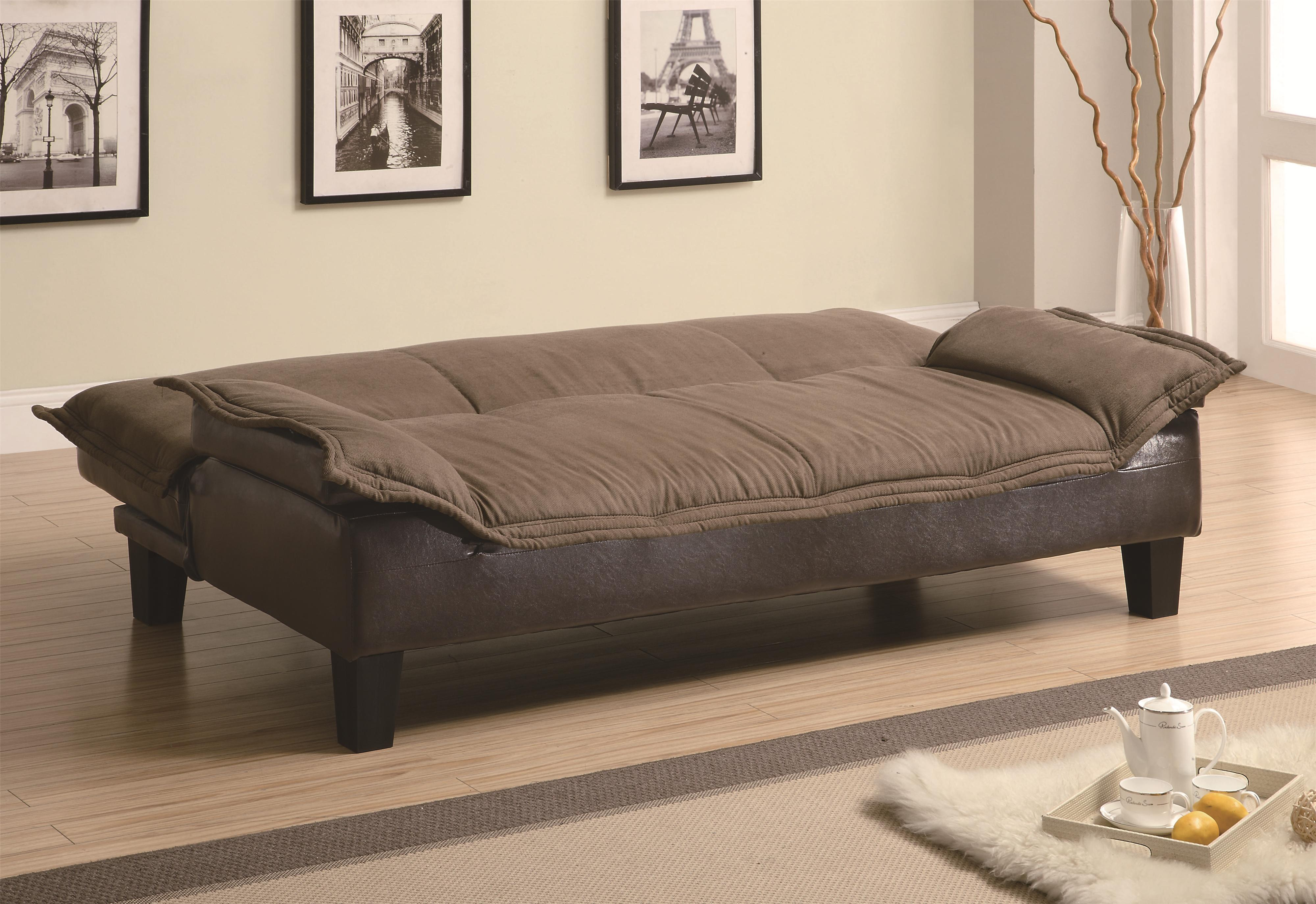 Coaster Sofa Beds and Futons Ratchet Back Sofa Bed with Dark Brown  Leather-Like Base