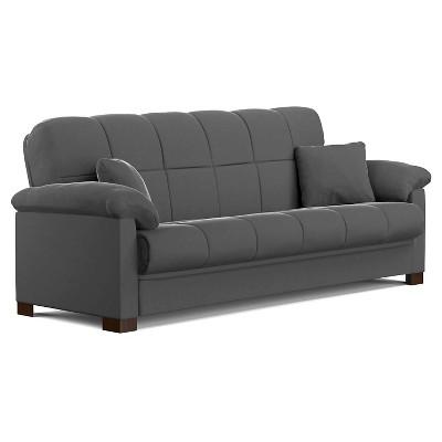 Maurice Microfiber Pillow Top Arm Convert-a-Couch Futon Sofa Sleeper -  Handy Living
