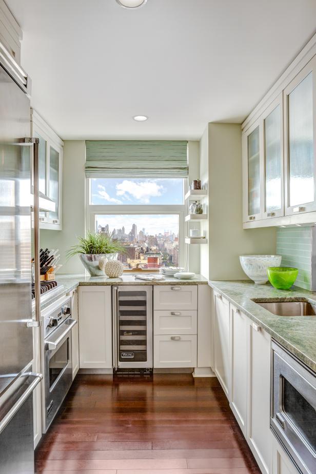 Galley Kitchen Exudes a Cool, Calm Charm