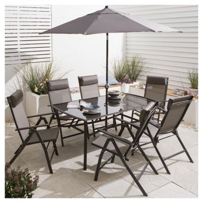 Patio, Roma Metal Garden Furniture Set, 8 Piece Garden Table And Chairs  Metal: