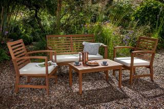 An attractive & comfortable, spacious hardwood garden set with coffee