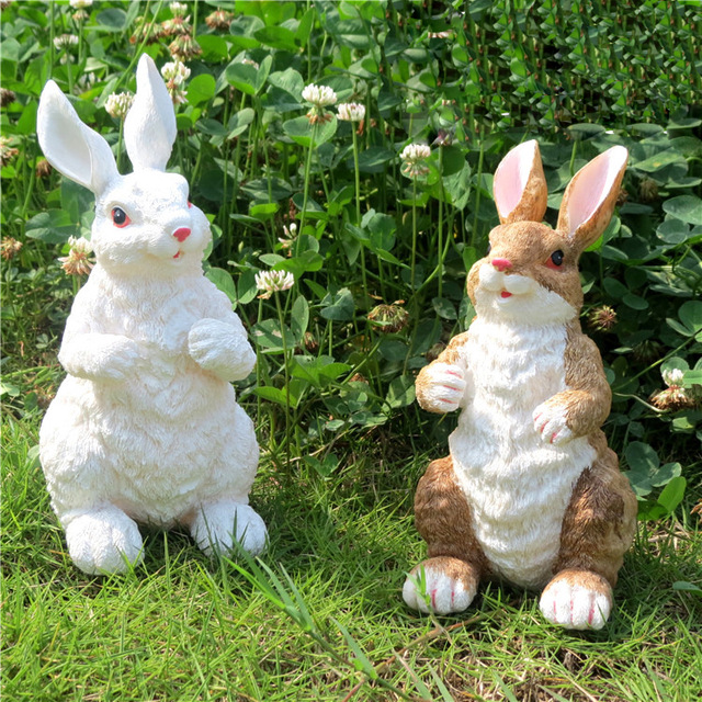 2 pcs Garden Ornaments Crafts Resin Garden Sculpture Garden Simulation  Animal Rabbit Bugs Bunny Animal Sculptures