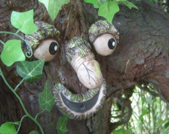Willy the rude Tree Face - take a peek. Garden statues, sculptures.  Handmade funny faces garden ornaments. Tree decorations. Yard art.