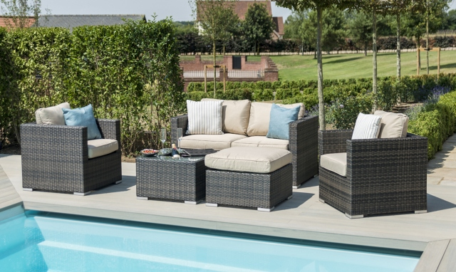 Cocoa Beach2 Seat Sofa Set with Ice Bucket In Brown Rattan