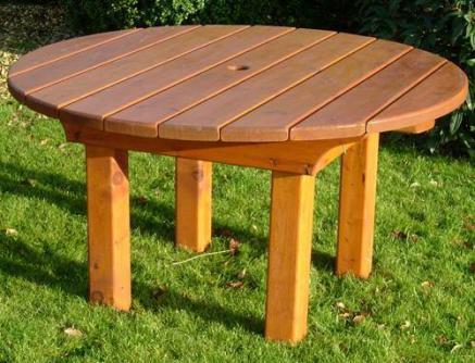 Heavy Round Wooden Garden Table - Tony Ward Furniture