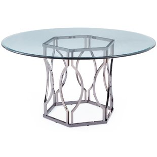 Modern & Contemporary 42 Inch Glass Top Dining Table | AllModern