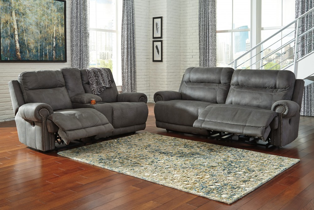 Austere - Gray - 2 Seat Reclining Sofa & DBL Rec Loveseat w/Console