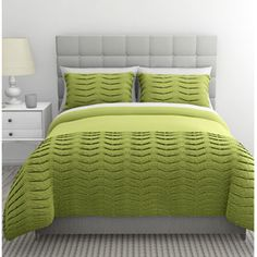 Pleated Tucks 2 Pc Duvet Set, Twin- Gree - Traveller Location