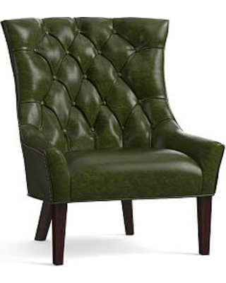Hayes Leather Armchair, Polyester Wrapped Cushions, Legacy Forest Green