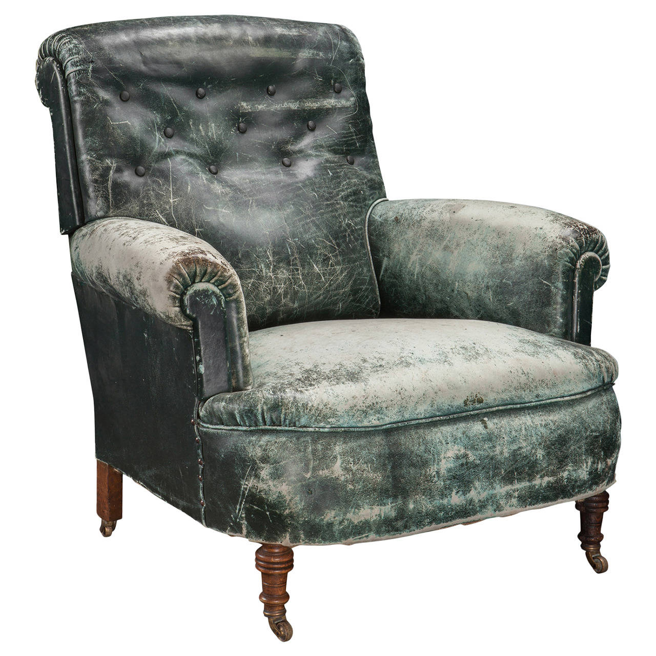 Weathered Green Leather Armchair For Sale