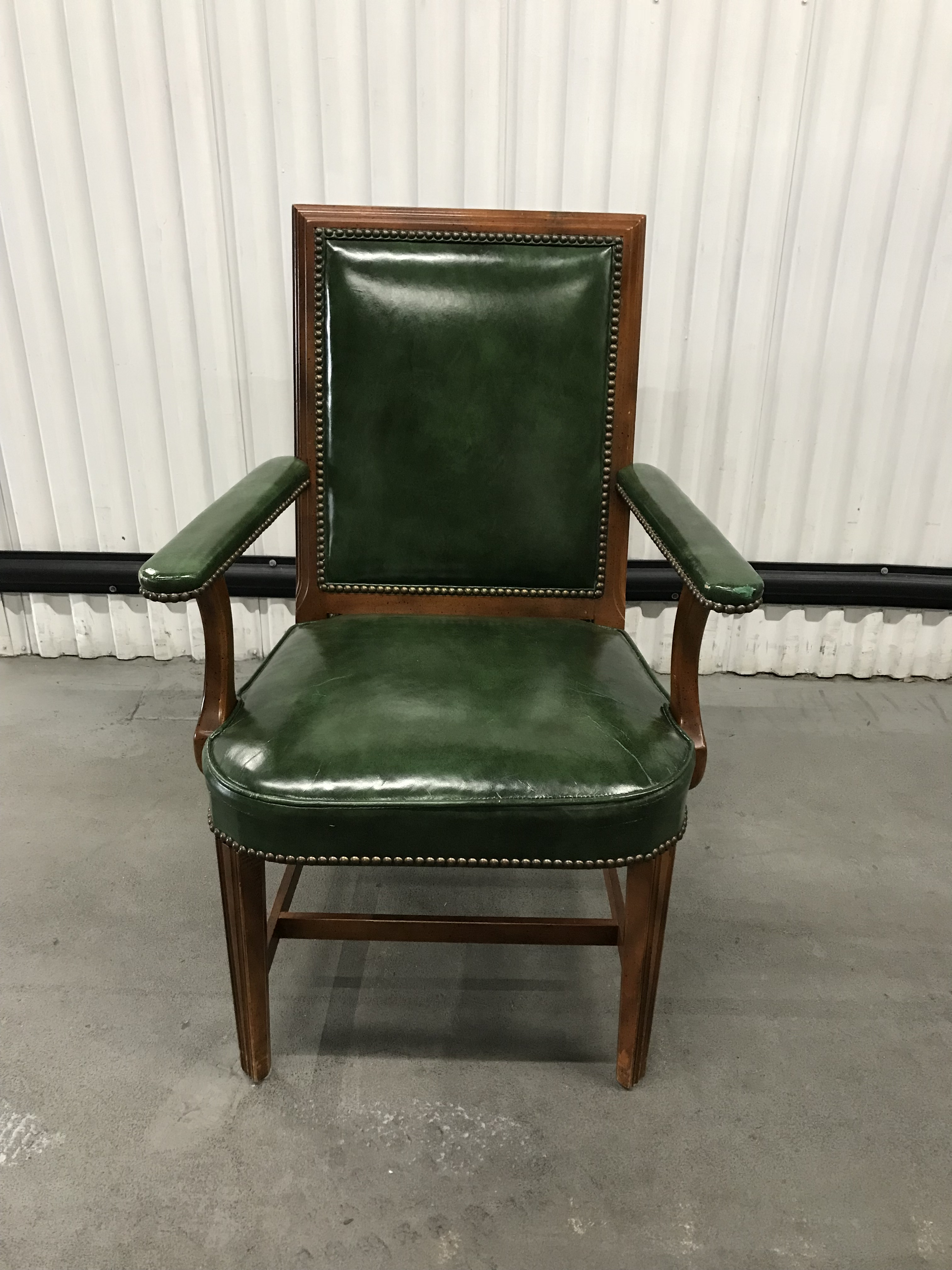 Dead sexy glossy leather on mid-century wood frame accented with a zillion  brass tacks. English Traditional Vintage Kelly Green Leather Armchair
