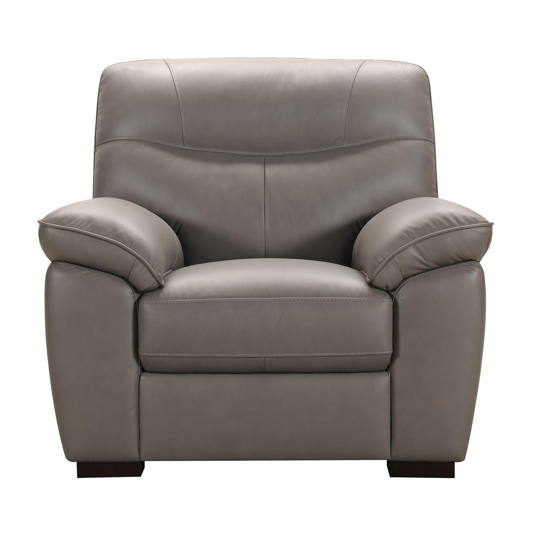 Andrea Grey Leather Armchair click. A