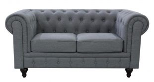 Grace Chesterfield Linen Fabric Upholstered Button-Tufted Loveseat, Grey-S5070-L  - The Home Depot