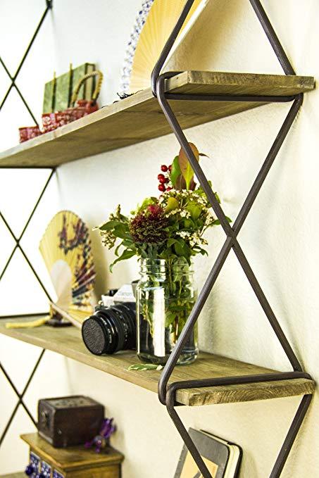 AVIGNON HOME Rustic Floating Wood Shelves 3-Tier Wall Mount Hanging Shelves  Book Shelves Industrial