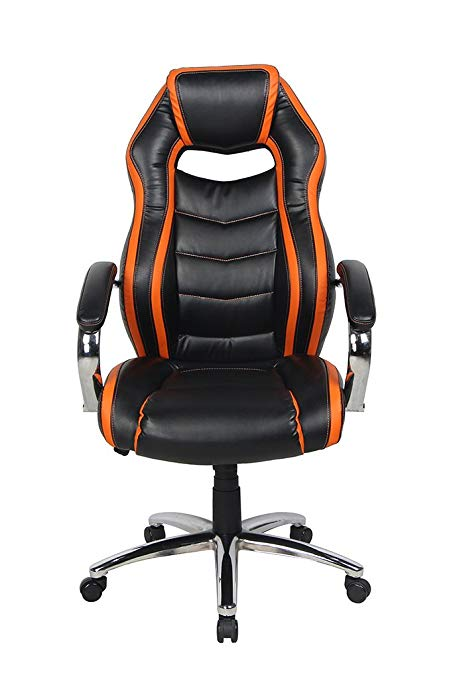 NKV High Back Office Chair Ergonomic Executive Computer Chair Heavy Duty  Desk Chair with Chrome Armrests
