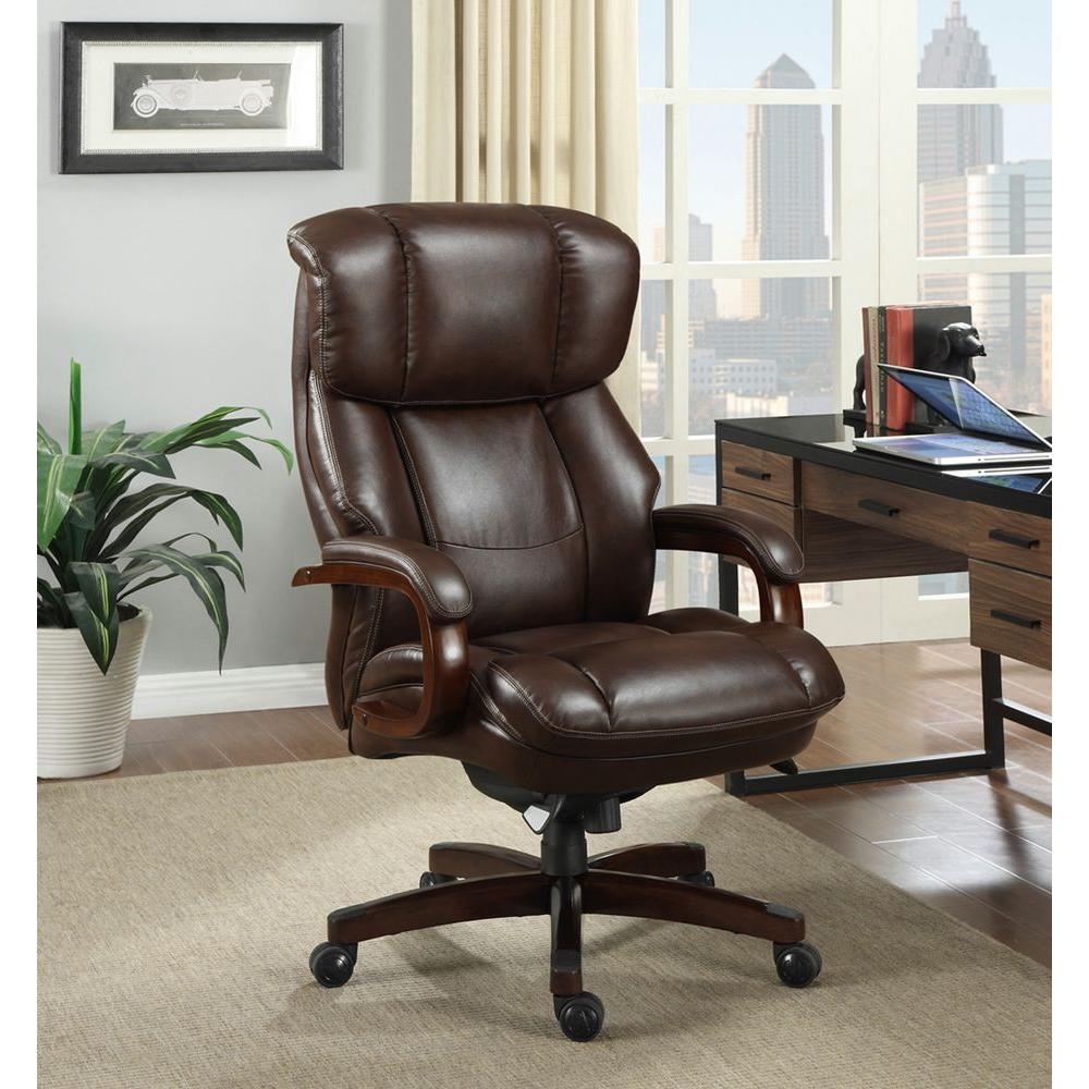 La-Z Boy Fairmont Biscuit Brown Bonded Leather Executive Office Chair