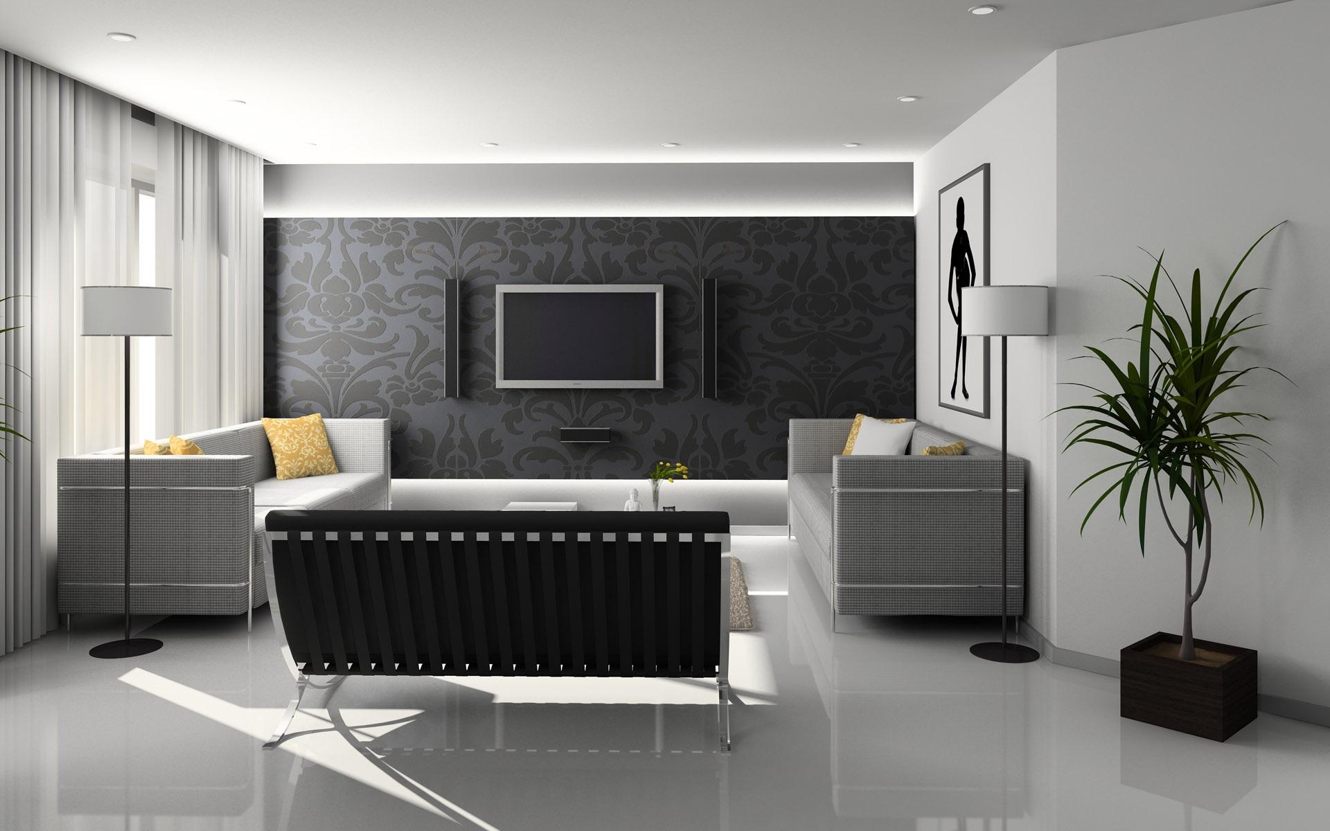 Flat Screen Monitor on Wall Near Sofa Set. Pixabay. Interior Design Of A  House