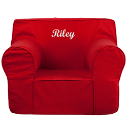 Personalized Kids Oversized Foam Chair Upholstered Kids Chairs - Traveller Location  - Red