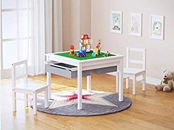 UTEX 2-in-1 Kids Multi Activity Table and 2 Chairs Set with Storage
