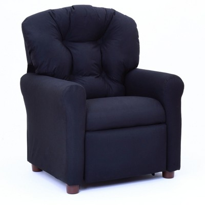 Kids Traditional Reclining Chair - Rich Black Microfiber - Crew Furniture