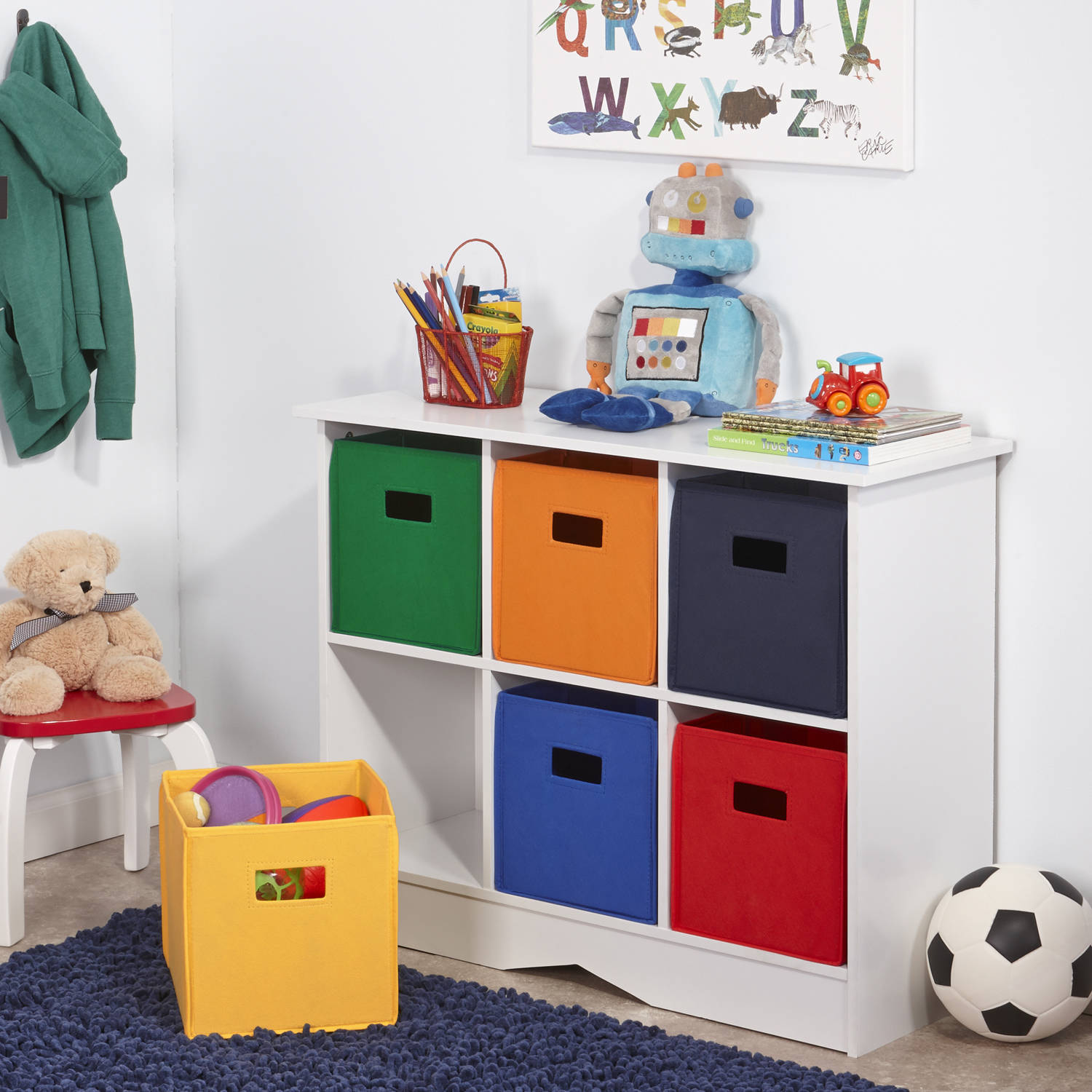 New Kids Playroom Nursery Storage Cabinet with 6 Bins, White and Primary  Tones