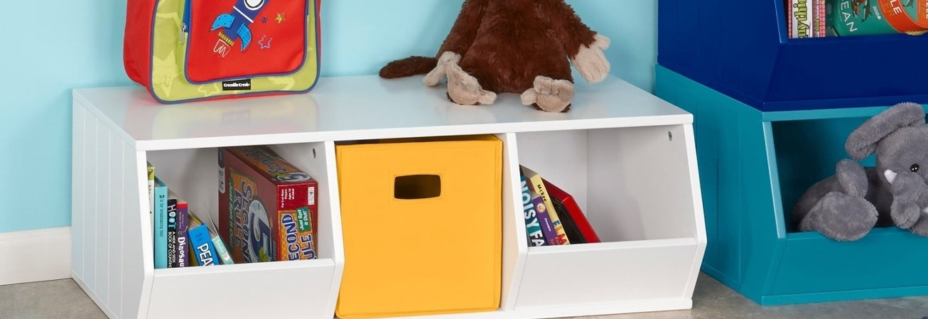 A kids storage bin filled with kdis toys