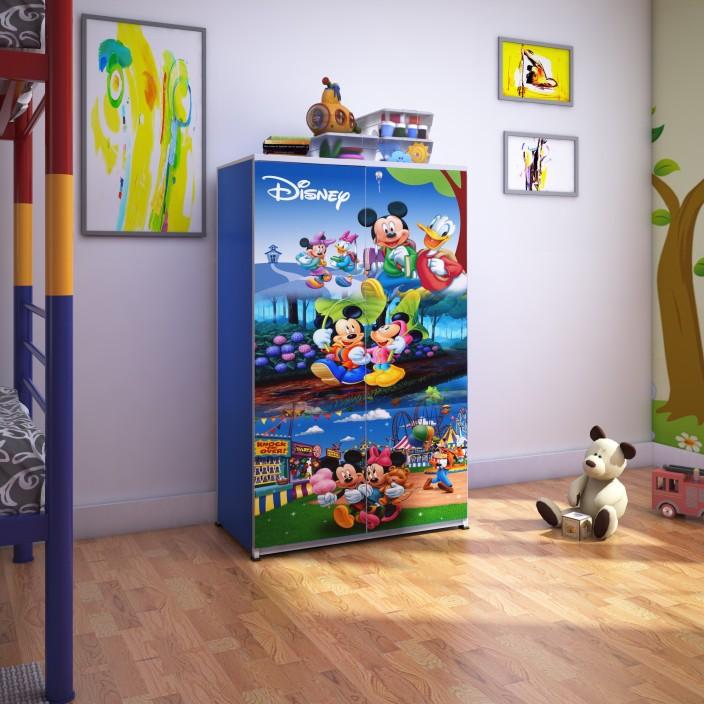 BigSmile Furniture BigSmile Kids Wardrobe - Micky Mouse Engineered Wood  Cupboard (Finish Color - Blue)