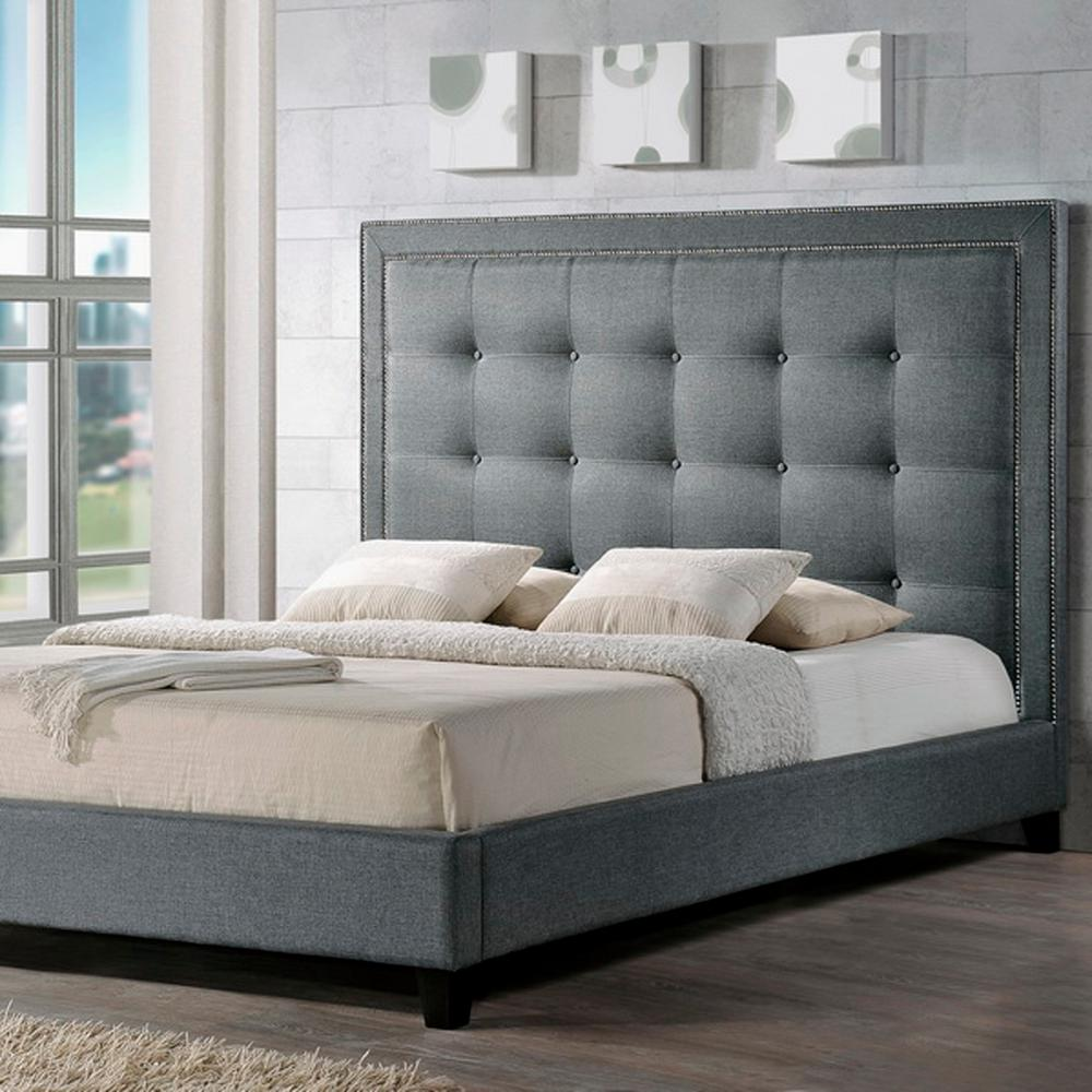 Baxton Studio Hirst Transitional Gray Fabric Upholstered King Size Bed-28862-5290-HD  - The Home Depot