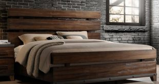 Modern Rustic Brown King Size Bed - Forge