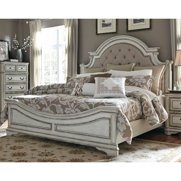 Antique White Traditional Upholstered King Size Bed - Magnolia Manor