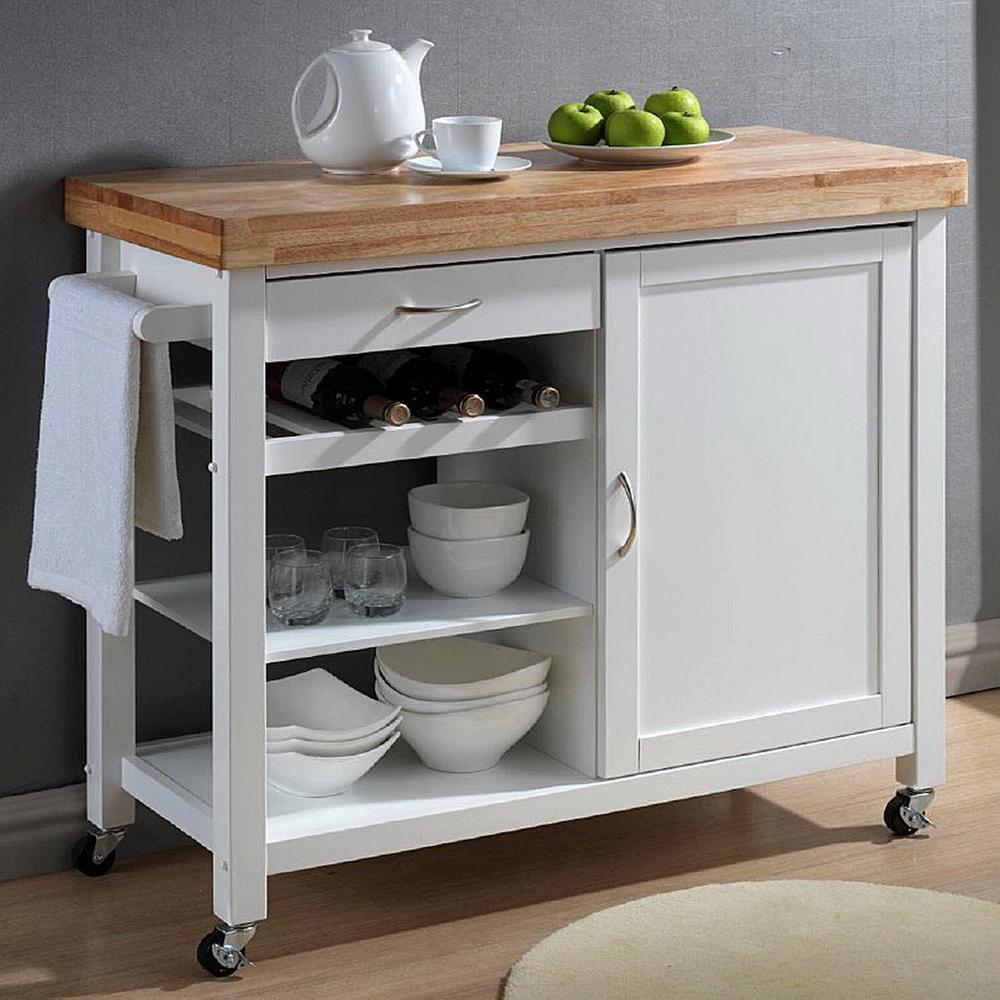 Baxton Studio Denver White Kitchen Cart with Butcher Block Top