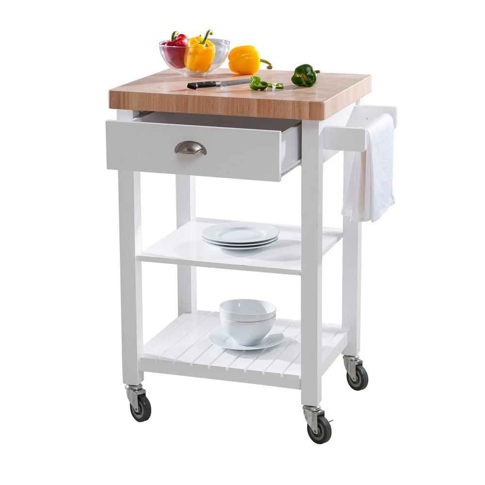 Hampton Bay Bedford White Kitchen Cart With Butcher Block Top