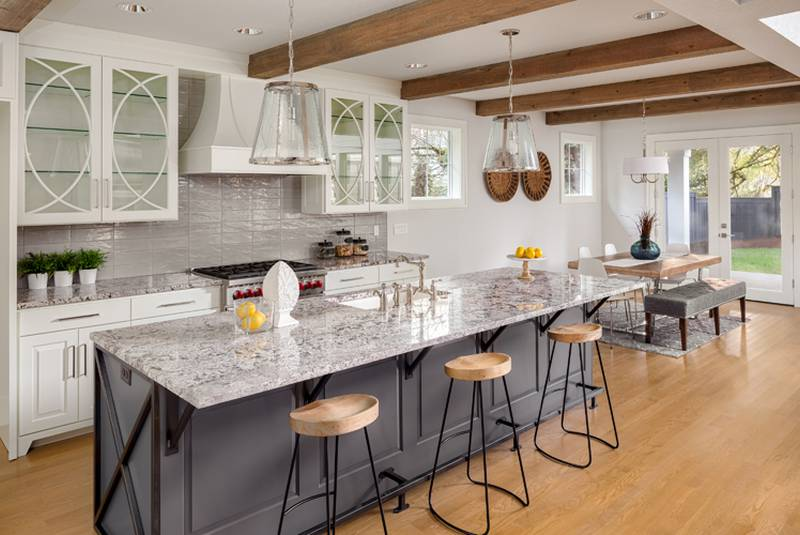 Waterfall countertops add a touch of drama and are a good way to show off a