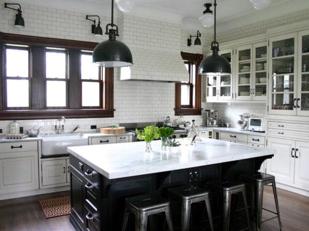 Transitional Black and White Kitchen With Unique Lighting