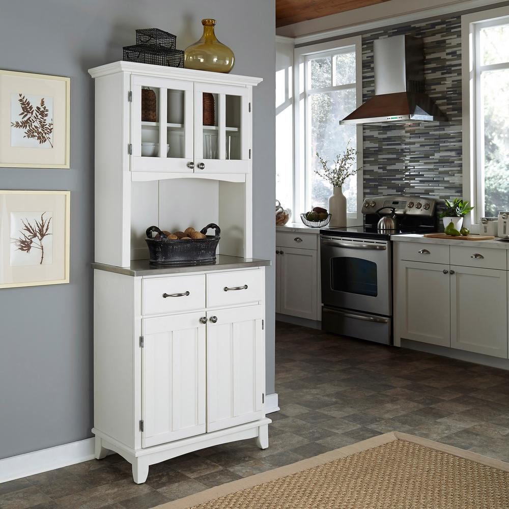 Home Styles White and Stainless Steel Buffet with Hutch