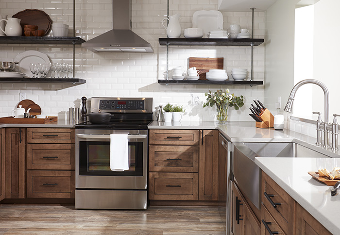Opt for open shelves instead of upper cabinets to provide display space and  make a small kitchen feel larger. Install shelves at standard upper-cabinet