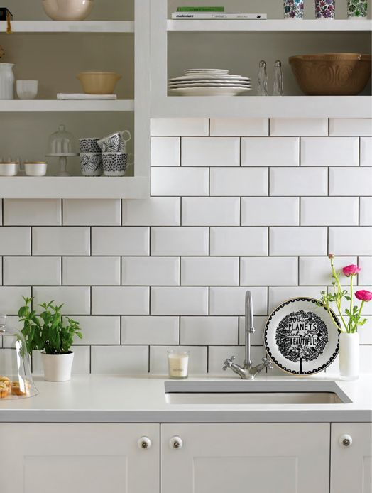 White Subway Tiles These classic white bevelled subway tiles will can  add either a modern, contemporary feel to your bathroom or kitchen walls,  or.