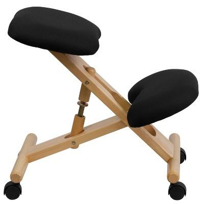 Mobile Wooden Ergonomic Kneeling Chair In Black Fabric - Belnick : Target