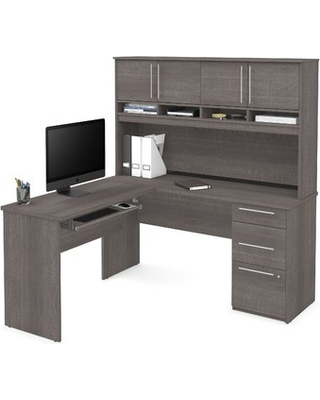 Altha Plus L-Shaped Computer Desk with Hutch Color: White