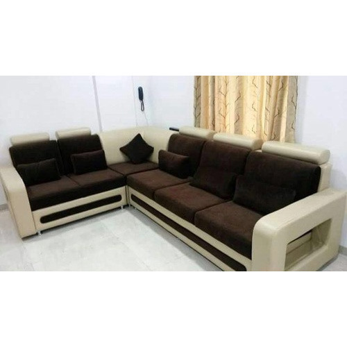 Wood and Leather L Shape Sofa, Warranty: 1 Year