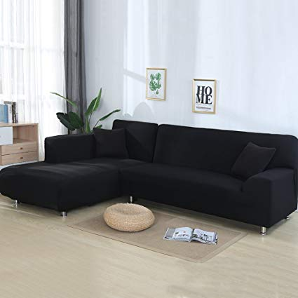 cjc Universal Sofa Covers for L Shape, 2pcs Polyester Fabric Stretch  Slipcovers + 2pcs Pillow