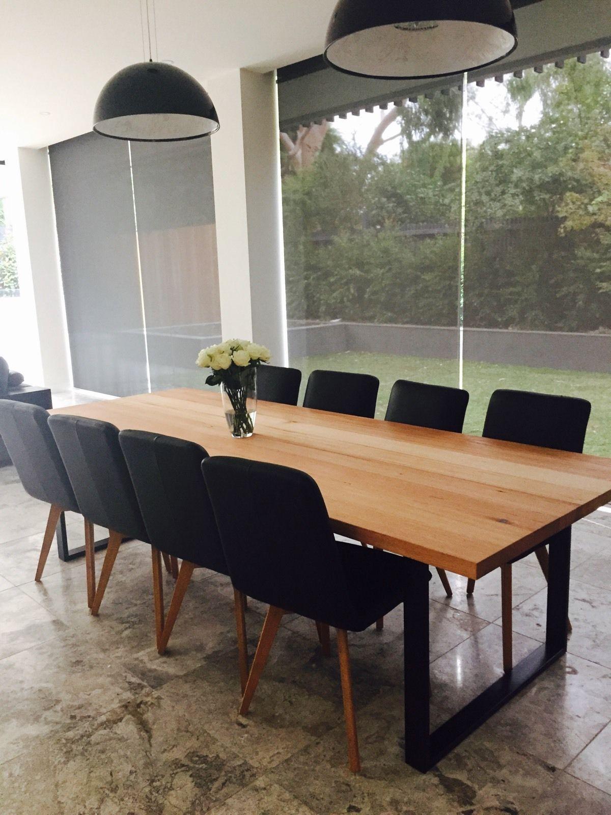 Large Handmade Local VIC OAK ASH Dining Table Industrial Steel Loop LEG in  VIC | eBay