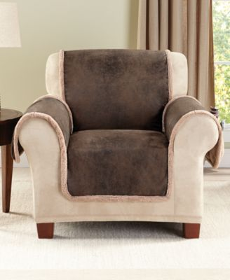 Sure Fit Vintage Faux Leather with Sherpa Pet Slipcover Collection