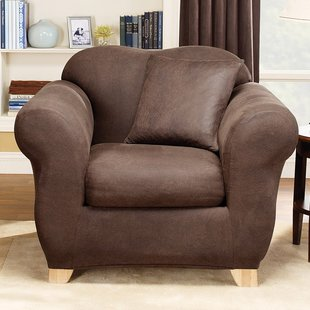 Stretch Leather Box Cushion Armchair Slipcover
