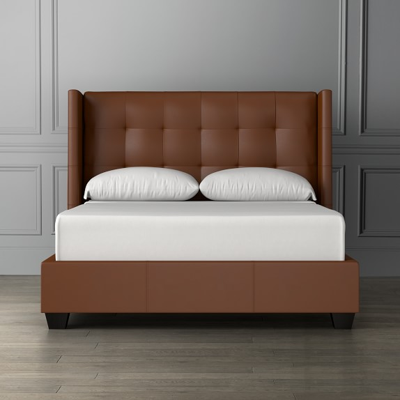 Gable Leather Wing Bed