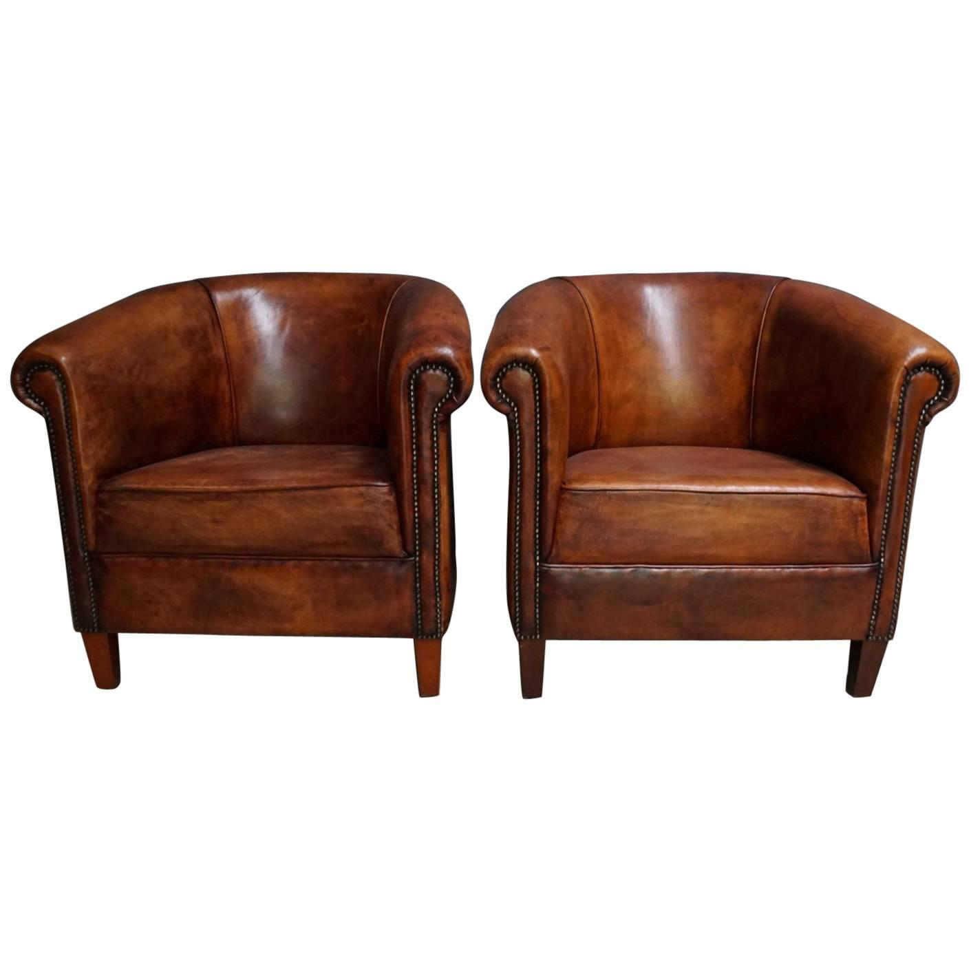 Vintage Dutch Cognac Leather Club Chairs, Set of Two For Sale
