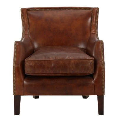 Njord Vintage Leather Club Chair - Light Brown - Christopher Knight Home