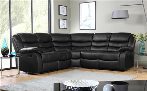 Sorrento Leather Recliner Corner Sofa Black