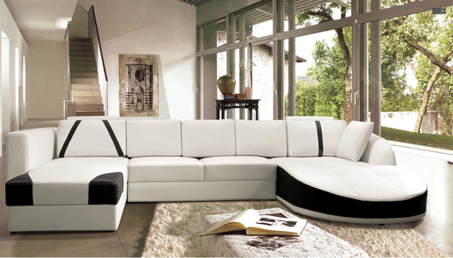 Sofa set living room furniture Modern Leather corner sofas with U shape sofa  set